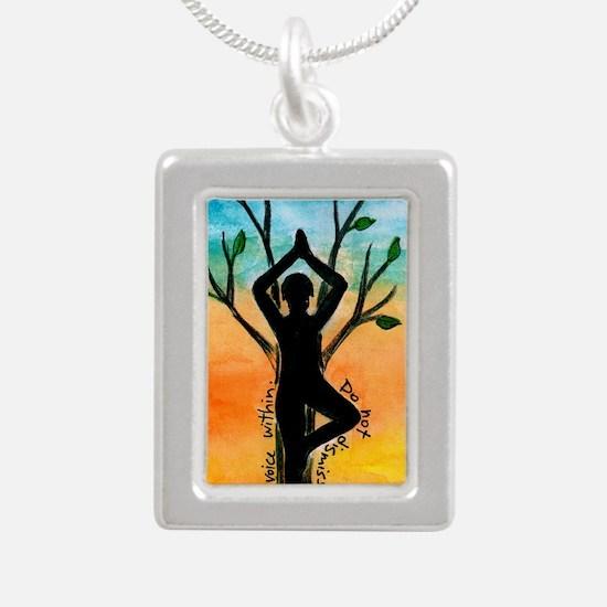 Yoga Silver Portrait Necklace