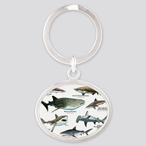 Sharks of the World Oval Keychain
