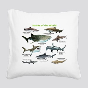 Sharks of the World Square Canvas Pillow