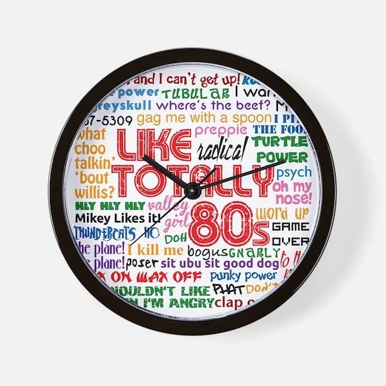 like totally 80s transparent bg Wall Clock