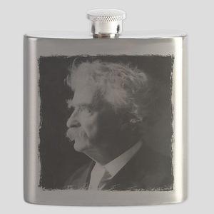 mark twain distressed3 Flask