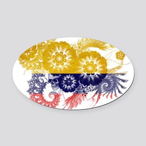 Colombia textured flower Oval Car Magnet