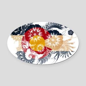 Colorado textured flower Oval Car Magnet