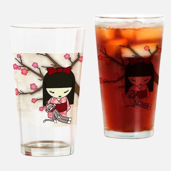 Kokeshi Sock Monkey 01 Drinking Glass