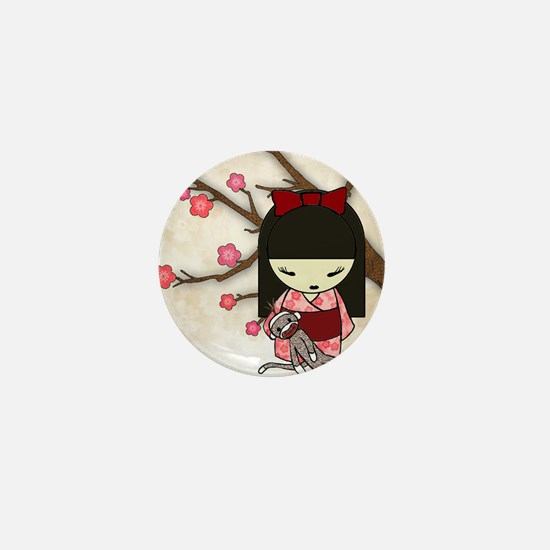 Kokeshi Sock Monkey 01 Mini Button