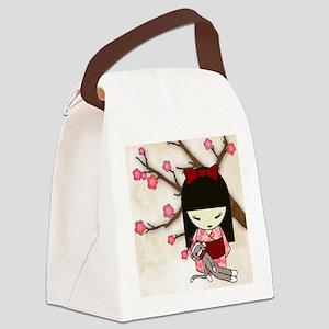 Kokeshi Sock Monkey 01 Canvas Lunch Bag