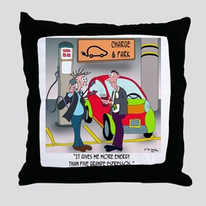 8644_electric_car_cartoon Throw Pillow