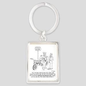 0864_motorcycle_cartoon Portrait Keychain