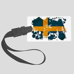 Sweden textured splatter copy Large Luggage Tag