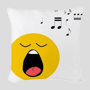 Singing Smiley Woven Throw Pillow