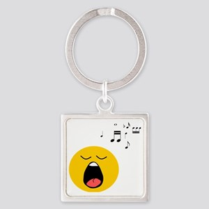Singing Smiley Square Keychain