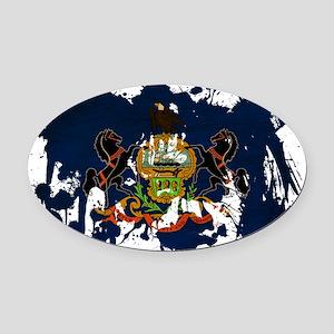 Pennsylvania textured splatter cop Oval Car Magnet