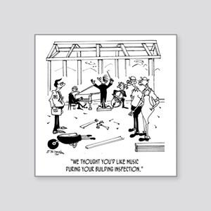 "6368_inspection_cartoon Square Sticker 3"" x 3"""