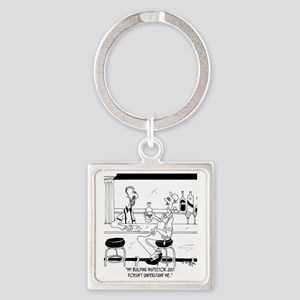 6376_inspector_cartoon Square Keychain