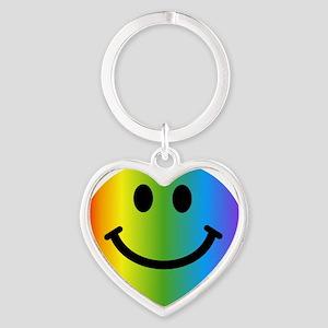 Rainbow Smiley Face Heart Keychain