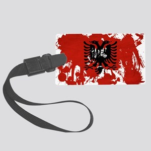 Albania textured splatter copy Large Luggage Tag