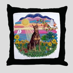 AutumnSun-Red Doberman Throw Pillow