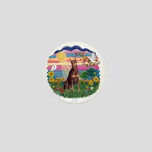 AutumnSun-Red Doberman Mini Button