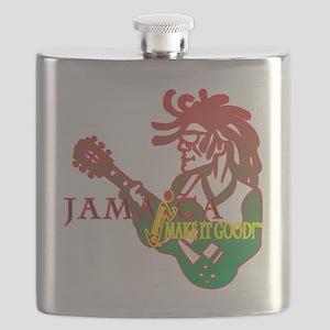 Jamaican Rasta White Flask