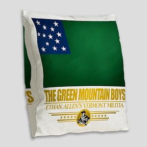Green Mountain (Flag 10)2 Burlap Throw Pillow