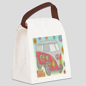 VWVan60sGroovyGlassPrintSquare Canvas Lunch Bag
