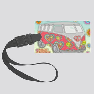 VWVan60sGroovyGlassPrint Large Luggage Tag