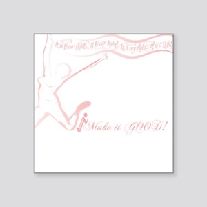 """Cancer Runner Red Square Sticker 3"""" x 3"""""""