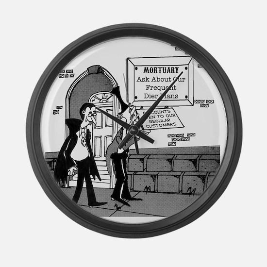 5199_mortuary_cartoon Large Wall Clock