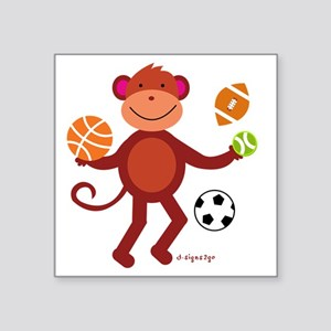 "monkey at Sports Square Sticker 3"" x 3"""