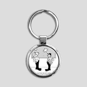 2408_window_cartoon Round Keychain