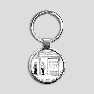 1950_locksmith_cartoon Round Keychain