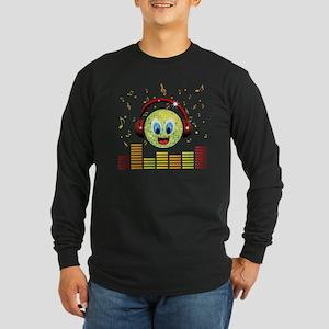 Disco Head Design Long Sleeve Dark T-Shirt