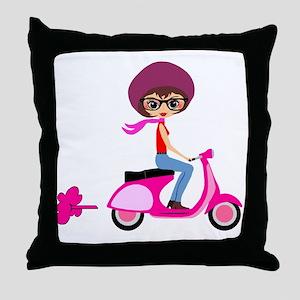 scootgirl Throw Pillow