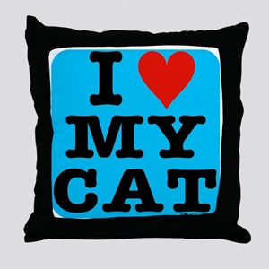 HeartMyCat10x10blue Throw Pillow
