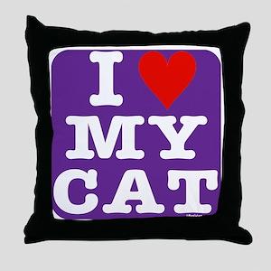 HeartMyCat10x10purple Throw Pillow