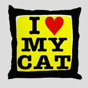 HeartMyCat10x10yellow Throw Pillow