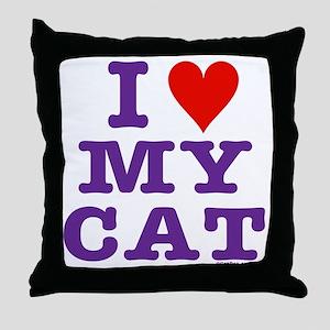 HeartMyCat10x10purpleTrans Throw Pillow