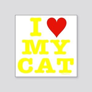 "HeartMyCat10x10yellowTrans Square Sticker 3"" x 3"""