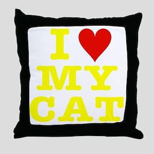 HeartMyCat10x10yellowTrans Throw Pillow