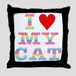 HeartMyCat10x10RainbowTran Throw Pillow