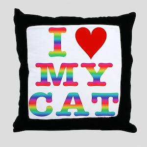 HeartMyCat10x10RainbowVivid Throw Pillow