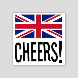 """British Cheers Pint Glass Square Sticker 3"""" x 3"""""""