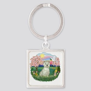 Blossoms-Westie 8 Square Keychain
