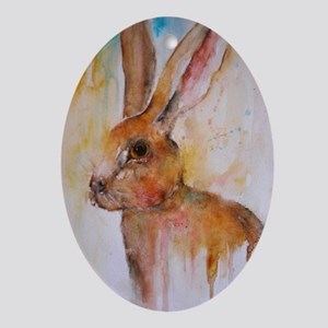 Solo Hare Oval Ornament