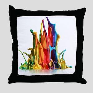 Paint Splash White Background Throw Pillow