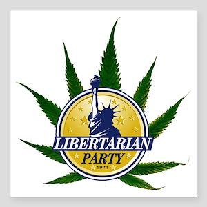 "libertarian logo over po Square Car Magnet 3"" x 3"""