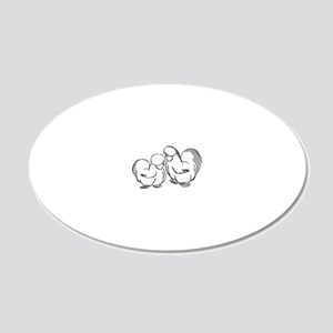 HenandRoo Pair 20x12 Oval Wall Decal