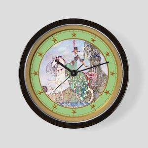 Princess Minot Clock_GREEN_GOLD STAR Wall Clock