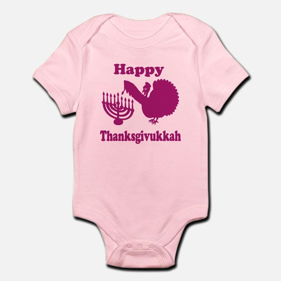 Happy Thanksukkah 3 pink Body Suit