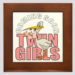 Twin girls coming Framed Tile